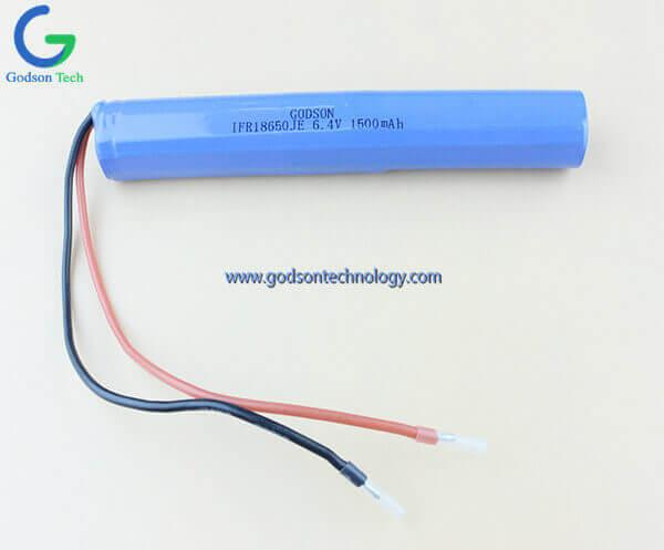 LiFePO4 Battery Pack IFR18650 6.4V 1500mAh