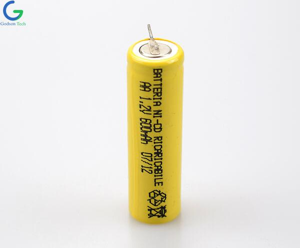 Ni-Cd Battery Cell AA 600mAh 1.2V