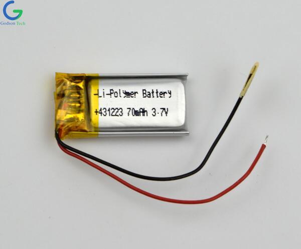 Lithium Polymer Battery 431223 70mAh 3.7V