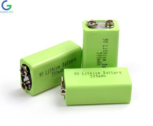 9V 500mAh Lithium Battery